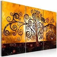 Schilderij - Boom met gekrulde takken , oranje , 3 luik