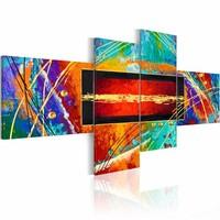Schilderij - Dans van de regenboog , multi kleur , 4 luik