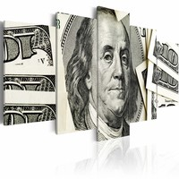 Schilderij - $100: Benjamin Franklin, bankbiljet , zwart wit , 5 luik , 2 maten