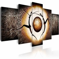 Schilderij - De planeet eren , oranje bruin , 5 luik