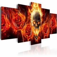 Schilderij - Schedel in vlammen , rood zwart , 5 luik