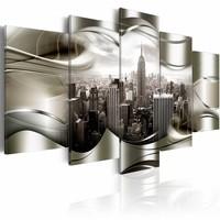 Schilderij - New York in zilver , zilver look , 5 luik