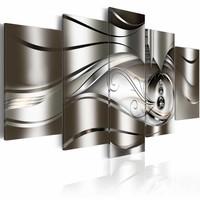 Schilderij- Diamante druppels , zilver look , 5 luik , 2 maten