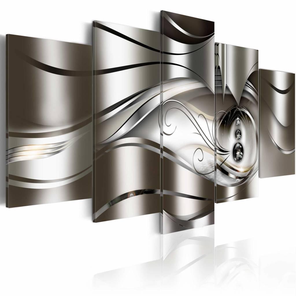 Schilderij- Diamanten druppels , zilver look , 5 luik