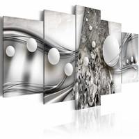 Schilderij - Januari plezier  , wit zilver look , ballen , 5 luik