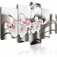 Schilderij - Schoonheid van de orchidee , wit zilver look , 5 luik