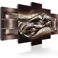 Schilderij - Chocolade variatie , bruin zilver look , 5 luik