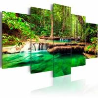 Schilderij - Prachtige natuur, waterval , bos waterval , groen bruin , 5 luik , 2 maten