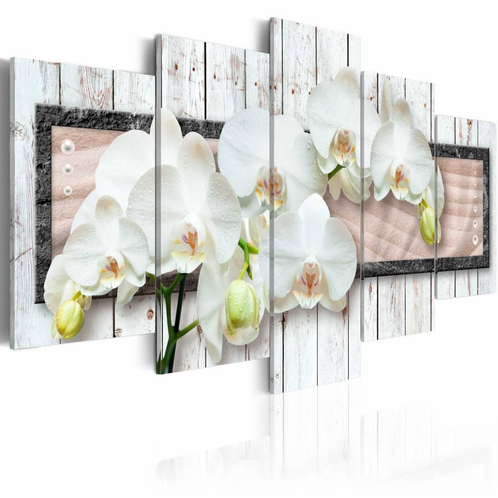 Schilderij - Summer dream, Orchidee , wit , hout look , 5 luik