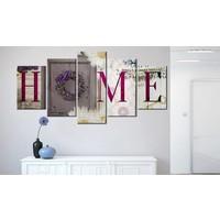 Schilderij -  Welcome home , rood wit , hout look , 5 luik