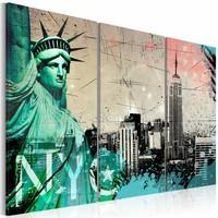 Schilderij - New York City collage , groen beige , 3 luik