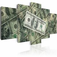 Schilderij - Droom van een fortuin II , groen , geld , 5 luik , 2 maten