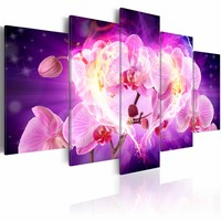 Schilderij - Krachtige liefde , orchidee , 5 luik