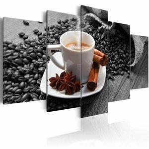 Schilderij - Koffie in de ochtend , wit bruin , 5 luik , 2 maten