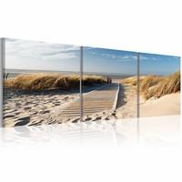 Schilderij - Uitzicht op Noordzee in drie delen , 120x40cm