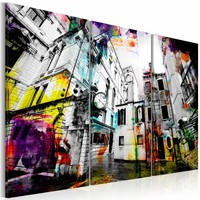 Schilderij - Artistieke architectuur , multi kleur , 3 luik