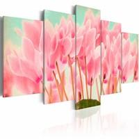 Schilderij - Cyclamen , roze groen , 5 luik , 2 maten