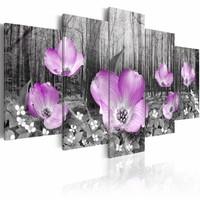 Schilderij - Bloemen op hout ,  lila , grijs , hout look , 5 luik