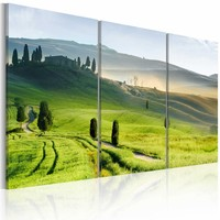 Schilderij - Toscaans landschap , groen blauw , 3 luik