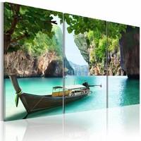Schilderij - Eenzame reis , boot , waterval , 3 luik