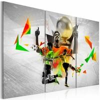Schilderij - Voetbal dromen , oranje groen , 3 luik , 2 maten