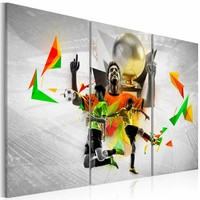 Schilderij - Voetbal dromen , oranje groen , 3 luik