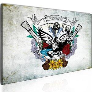 Schilderij - Voetbal Collage , wit  multikleur , 1 luik , 2 maten