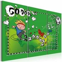Schilderij - Voetbal doelpunt , groen  , 3 luik