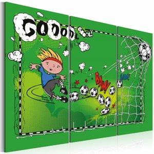 Schilderij - Voetbal doelpunt , groen  , 3 luik , 2 maten