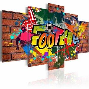 Schilderij - Voetbal (graffiti) , steen look , bruin , 5 luik