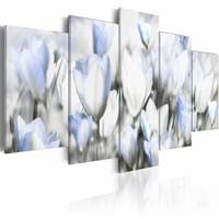 Schilderij - Garden of hope, tulpen , wit , 5 luik , 2 maten