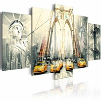 Schilderij - New York in beeld , geel grijs , 5 luik