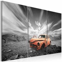 Schilderij - Oude auto , oranje grijs , 3 luik