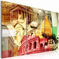 Schilderij - Het mooie Rome , oranje rood , 3 luik