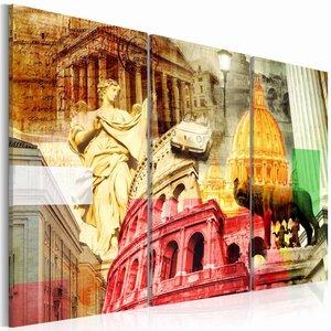 Schilderij - Het mooie Rome , oranje rood , 3 luik , 2 maten