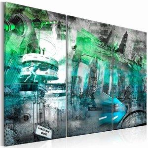 Schilderij - Berlijn - architectuur , groen , wit , 3 luik , 2 maten