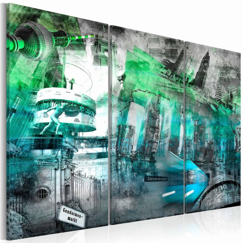 Schilderij - Berlijn - architectuur , groen , wit , 3 luik