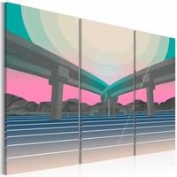 Schilderij - Twee wegen, 1 kant op , pastel kleur , 3 luik  , 2 maten