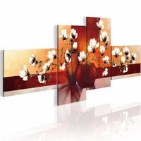 Schilderij - Magnolia - impression , bruin , wit , 4 luik , 2 maten