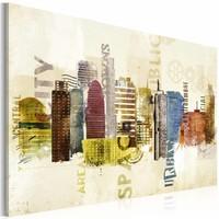Schilderij - Urban design , multikleur  , stadsgezicht