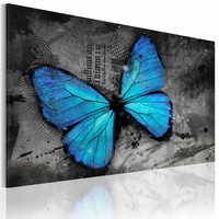 Schilderij - Studie van de vlinder , grijs blauw