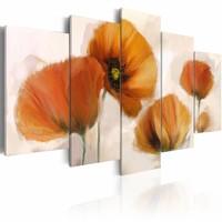 Schilderij - Oranje klaprozen , wit, 5 luik