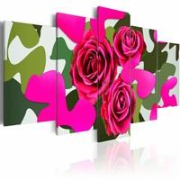 Schilderij - Neon rozen , roze groen , 5 luik , 2 maten