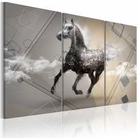 Schilderij - Paard in gallop , grijs wit , 3 luik