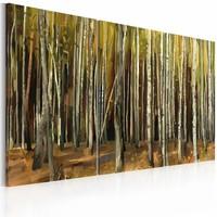 Schilderij - De mysterieuze Sherwood Forest , geel groen , 3 luik