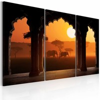 Schilderij - The tranquillity of Africa - triptych