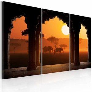 Schilderij - De rust van Afrika , oranje bruin , 3 luik , 2 maten