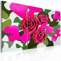 Schilderij - Neon rozen , roze groen , 3 luik , 2 maten