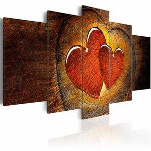 Schilderij - Een hart van hout , bruin rood , 5 luik , 2 maten