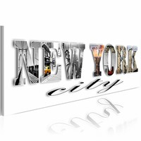 Schilderij - New York City districten , wit zilver look , 1 luik , 120x40